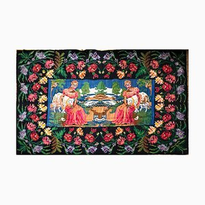 Large Handwoven Rug with Amazing Scenery and Floral Design, Romania