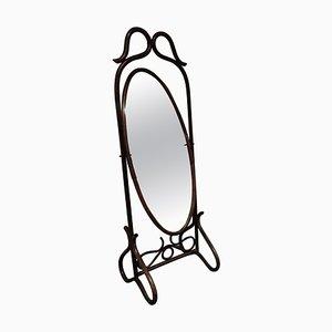 Specchio vintage in legno curvato, anni '60