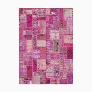 Vintage Pink Modern Patchwork Rug
