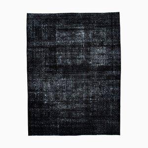 Large Vintage Black Overdyed Area Rug