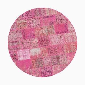 Vintage Pink Round Patchwork Rug