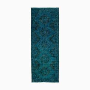 Türkisfarbener Türkischer Vintage Läufer Teppich