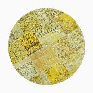 Vintage Yellow Round Patchwork Rug