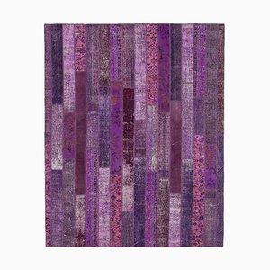 Modern Purple Patchwork Rug