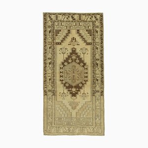 4x7 Beigefarbener Anatolischer Vintage Teppich 10069