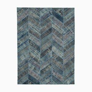 Vintage Blue Modern Patchwork Rug