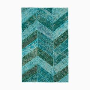 Vintage Turquoise Modern Patchwork Rug