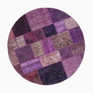 Vintage Purple Round Patchwork Rug