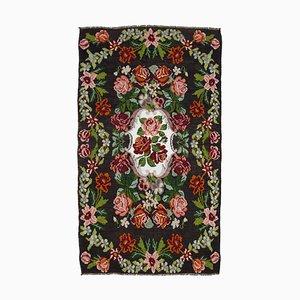 Vintage Black Moldovan Kilim Rug