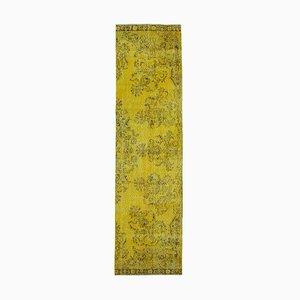 Vintage Yellow Overdyed Runner Rug