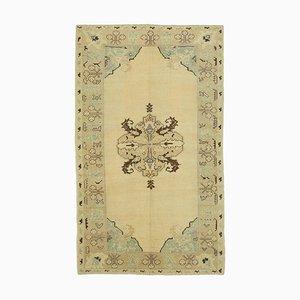 4x7 Beigefarbener anatolischer Vintage Teppich 10046