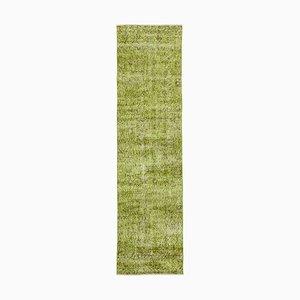 Vintage Green Overdyed Runner Rug