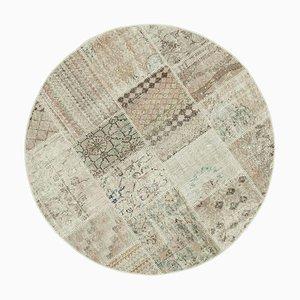 Vintage Beige Round Patchwork Rug