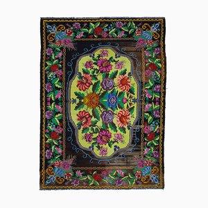 Vintage Moldovan Black Kilim Rug