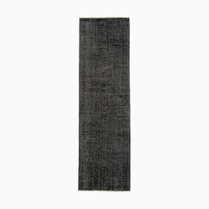 Vintage Black Overdyed Runner Rug