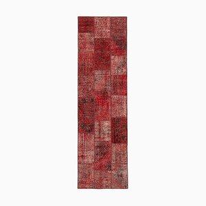Vintage Red Patchwork Runner Rug