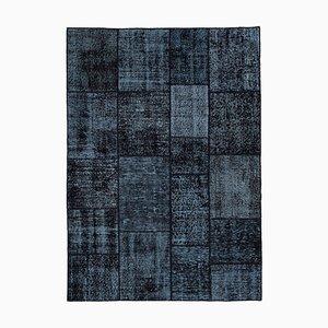Schwarzer Vintage Patchwork Teppich