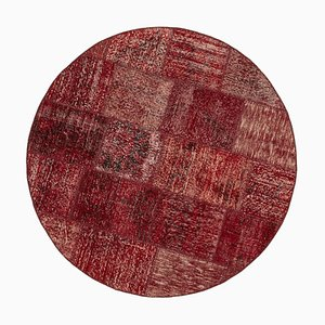 Red Round Patchwork Rug