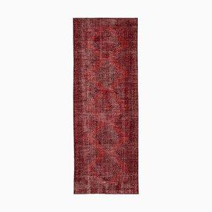 Red Turkish Overdyed Runner Rug