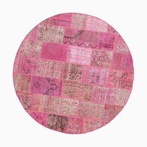 Pink Round Patchwork Rug