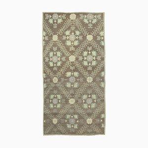 Anatolischer 4x10 Beigefarbener Vintage Teppich 10102