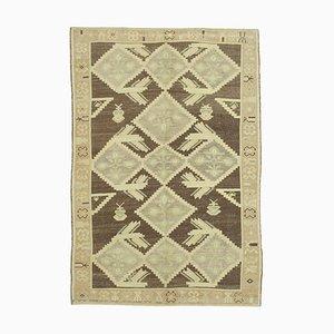 Anatolischer 5x7 Beigefarbener Vintage Teppich 10036