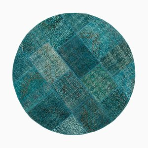 Turquoise Round Patchwork Rug