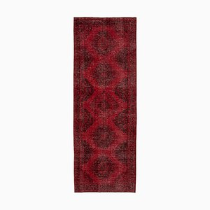 Red Turkish Over Dyed Runner Rug