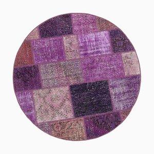 Purple Round Patchwork Rug