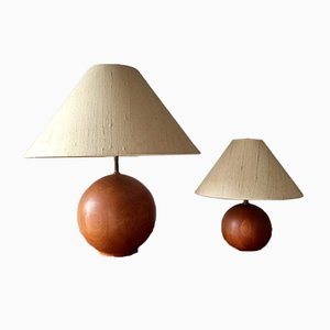 Teak Globe Shaped Table Lamps from Dyrlund, Set of 2