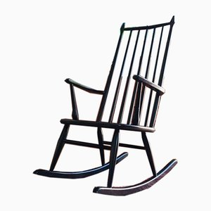 Danish Black Rocking Chair, 1950s