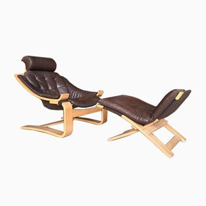 Swedish Leather Lounge Chair by Éke Fribytter for Nelo Kroken, 1960s