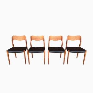 Teak Model 71 Chairs by Niels O. Möller, 1960s, Set of 7