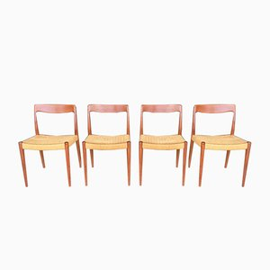 Mid-Century Papercord and Teak Dining Chairs, Set of 4