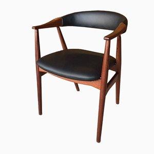 Silla de escritorio danesa de teca de Thomas Harlev, años 60