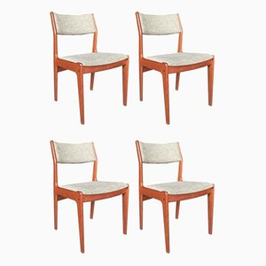 Minimalistic Danish Modern Teak Dining Chairs by Johannes Andersen, Set of 4