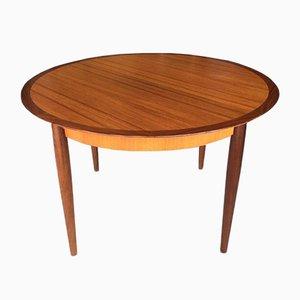 Round German Teak & Walnut Dining Table from Lübke, 1960s