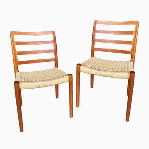 Danish Model 85 Teak Side Chairs by Niels O. Møller, Set of 2