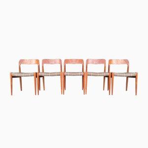 Model 75 Teak Dining Chairs by Niels O. Møller, 1960s, Set of 5