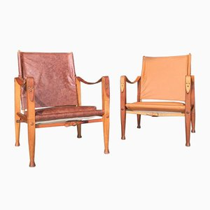 Leather Safari Chairs by Kaare Klint for Rudolf Rasmussen, 1950s, Set of 2