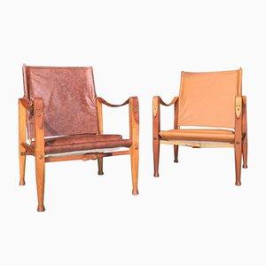 Leder Safari Stühle von Kaare Klint für Rudolf Rasmussen, 1950er, 2er Set