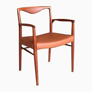 Danish Leather Desk Chair by Kai Lyngfeldt Larsen, 1960s