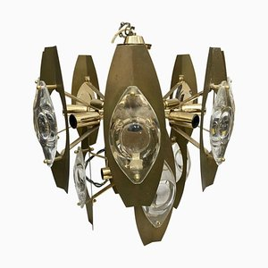 Mid-Century Modern Brass and Glass Chandelier by Gaetano Sciolari, 1960s