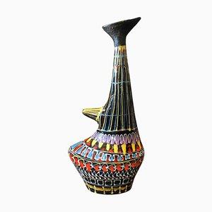 Handbemalte Mid-Century Modern Lava Keramikvase von Marmaca, 1950er