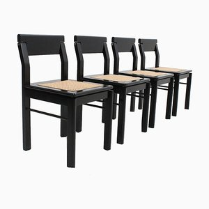 Italian Black Lacquer Wood and Vienna Straw Dining Chairs, 1970s, Set of 4