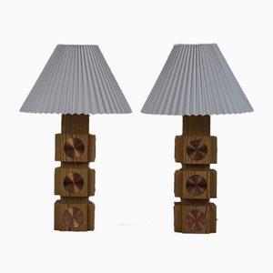Schwedische Kiefernholz & Kupfer Tischlampen von Ateljé Lyktan, 1960er, 2er Set