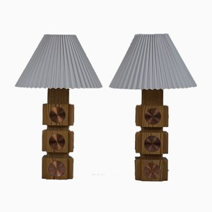 Swedish Pine and Copper Table Lamps from Ateljé Lyktan, 1960s, Set of 2