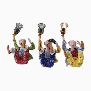 Italian Handmade Ceramic Sconces, 1950s, Set of 3
