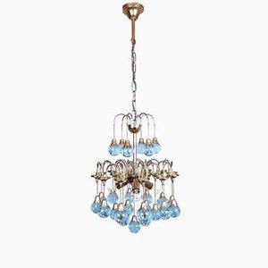 Vintage Italian Brass & 25 Murano Glass Ball Cascade Chandelier