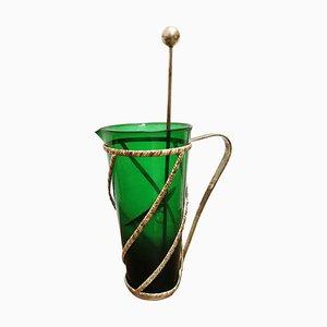 Jarra vintage de cristal de Murano plateado